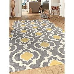"""Rugshop Moroccan Trellis Contemporary Indoor Area Rug, 5'3"""" x 7'3"""", Gray/Yellow"""