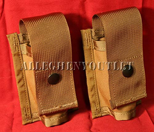 AirSoft Lot of 2 USGI Double 40MM HE High Explosive/Grenade MOLLE Pouch New Coyote