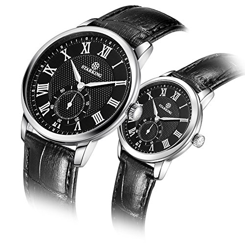 STARKING Luxury Couple Watches Man and woman Wrist Watch TL0906 Leather Woman Watch Casual Style Roman Number Waterproof Scratch Proof by STARKING
