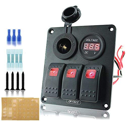 Ambuker 3 gang rocker switch panel with power socket with red voltmeter and Decal Sticker Labels DC12V/24V for Marine Boat Car Rv Vehicles Truck by Ambuker