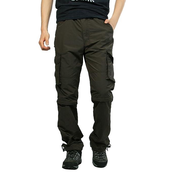 91a6c9ad62fcd7 Rcool Pantaloni Uomo Lunghi Cargo con Tasche Laterali Tattici Militari  Pantalone da Lavoro con Cerniera Removibile