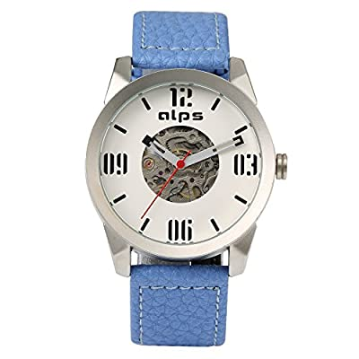 ALPS Mens Watch Luxury Skeleton Mechanical Automatic Watch Genuine Leather Watch (Blue )