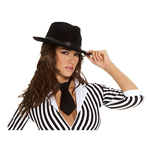 Sexy Gangster Mobster Hat Adult Roleplay Costume Accessory, One Size, Black