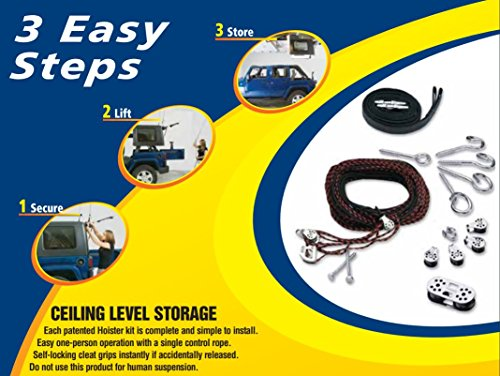 Garage Ceiling Storage Lift Harken Hoist with Bonus Rope Cleat | Lift and Store Anything Up to 200lbs | Safe for 1 Person Operation | Lifts Evenly with 8:1 Mechanical Advantage | Organize Your Garage by Harken Hoister (Image #5)
