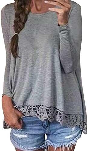 ZANZEA Women Casual Crochet Lace Patchwork Irregular Solid T-Shirts Tops Blouse