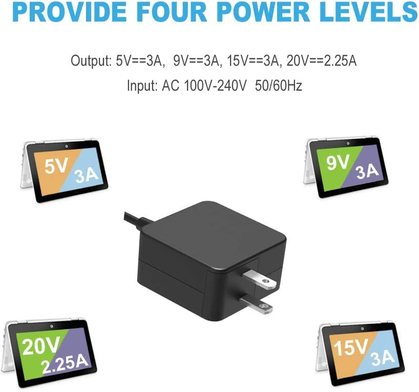 45W USB Type C AC Charger Fit for Lenovo Chromebook 100e 300e 500e c330 c340 s330 s340 N23 Yoga 4X20M26252 4X20E75131 ADLX45YCC3D ADLX45YCC2A ADLX45YLC3D ADLX45YLC3A Laptop Power Supply Adapter Cord