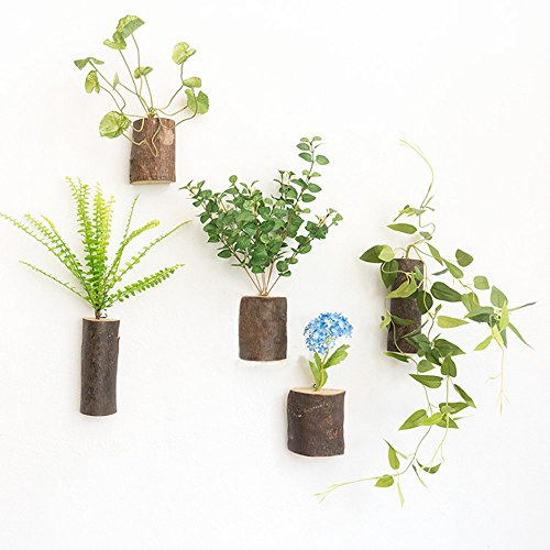 WOOD MEETS COLOR Handmade Hanging Vases, Wall Vases Arrangement, Planters, Containers, With Artificial Plants, 5 PCs (Green grass)
