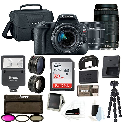 Canon EOS Rebel SL2 Digital Camera with 18-55mm & 75-300mm Lens + 32GB SD Card + Tripod + Filter Kit +Flash & Bag –Holiday Bundle