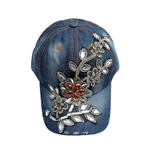 SONG LIN Womens Casual Baseball Cap Diamond Painting Embroidery Flower Denim Snapback Hats Cowboy Summer Adjustable Sun Hat (Nostalgia) - Denim Cowboy Costume