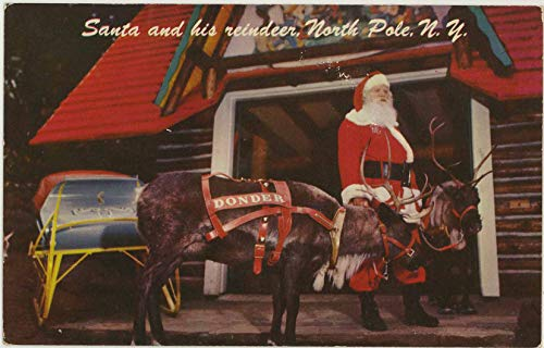 Santa & Donder - Santa's Workshop North Pole - Wilmington New York - Vintage Chrome Amusement Park Postcard - #SC2658