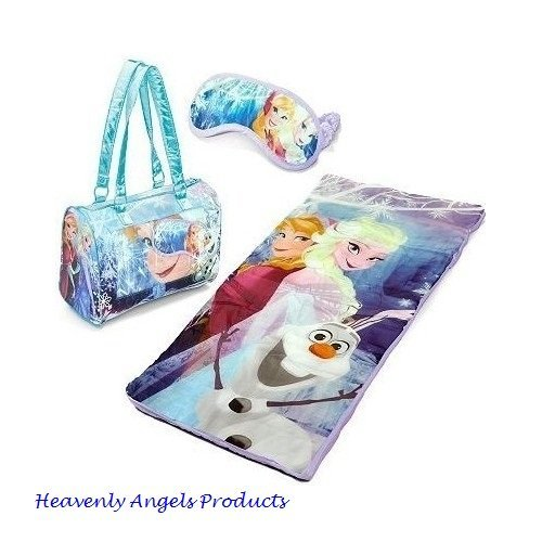 Disney Frozen Girls Sleeping Bag-Princess Anna and Elsa, Olaf-3 Pc Indoor Camping-Sleepover-Overnight Cozy Slumber Bag with Zipper Compartment and Eyemask for Easy Sleep by Disney (Image #1)