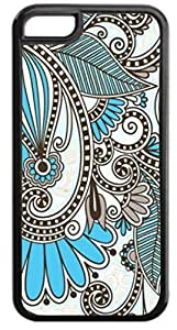 02-White and Blue Paisley-Case for the APPLE IPHONE 5c ONLY! (NOT COMPATIBLE WITH THE STANDARD IPHONE 5) -Quality Hard Black Plastic Iphone Case