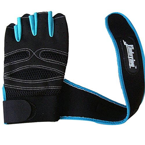 Wincom Dishman Motorcycle Gloves Motorcycle Half Finger Gloves Lengthened Wrist Fitness Gloves - (Color: Blue, Size: XL)