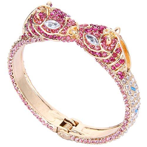 EVER FAITH Women's Austrian Crystal Enamel 2 Horses Animal Lover Bangle Bracelet Pink Gold-Tone