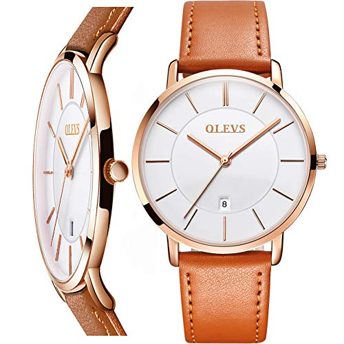Thin Mens Watches,Minimalist Watch Men Leather Ultra Thin Wrist Watch for Men,Quartz Analog Wristwatch with Date,OLEVS Watch for Men White Face,Rose Gold Mens Watch with Date and Day,Slim Watches