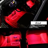 Car LED Strip Light, EJ's SUPER CAR 4pcs 36 LED Car Interior Lights Under Dash Lighting Waterproof Kit,Atmosphere Neon Lights Strip for Car,DC 12V(Red)