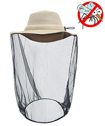 LETHMIK Mosquito Net Hat,Unisex Outdoor Fishing Sun Hat with Mesh Mask Anti-Mosquito Netting Net Face Protection Beige ()