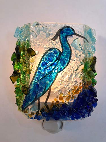 Blue Heron Handcrafted Recycled Glass Mosaic fused Night Light Nightlight nitelite green nature gift