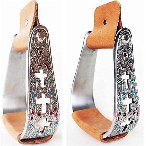 PRORIDER Horse Saddle Aluminum Stirrups Leather Engraved Cross Western Stirrup 5168B