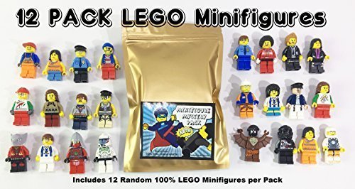 12 Random Lego Minifigures - Brand New - Excellent Assortment of Mini Figs w/all Body Parts; Hat, Hair or Helmet. New Lego ()