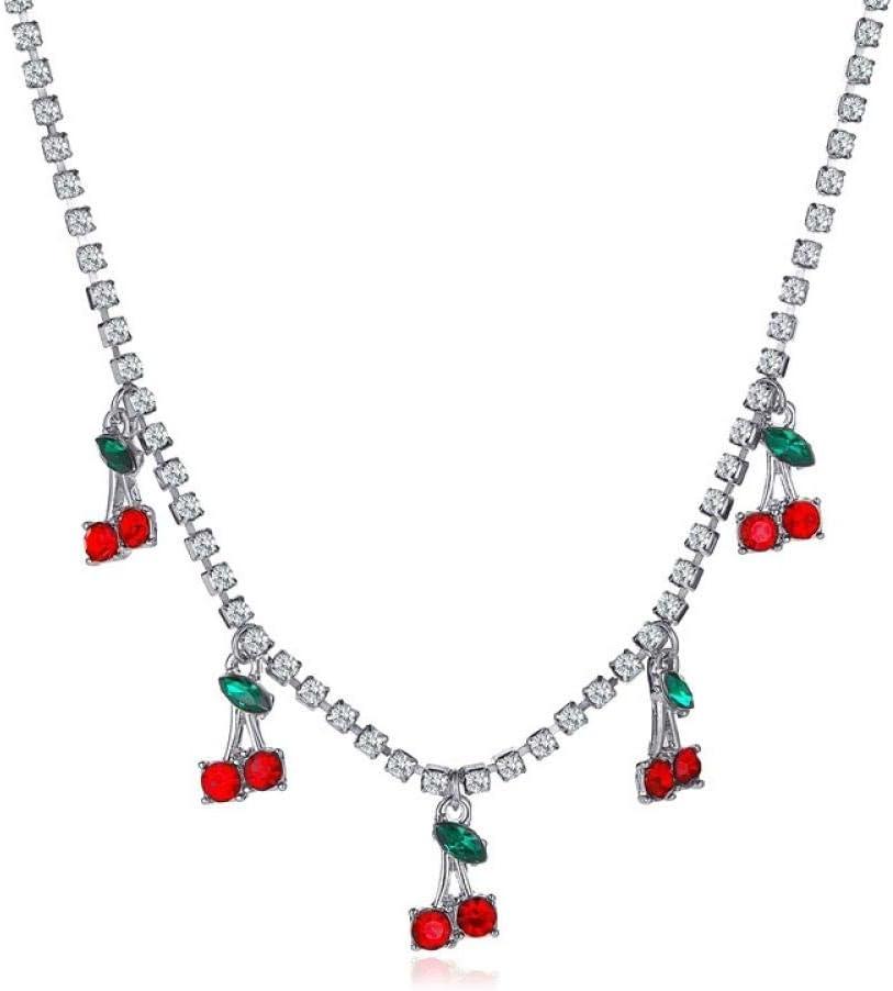 KULIXI Collar de Cereza de Cristal Collares Colgantes de Fruta de Cereza de Hoja Verde para Mujer Collar de Borla Gargantilla-Plateado