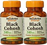 Sundown Naturals Black Cohosh 540 Mg Whole Herb Capsules, Pack of 2 = 200 Count