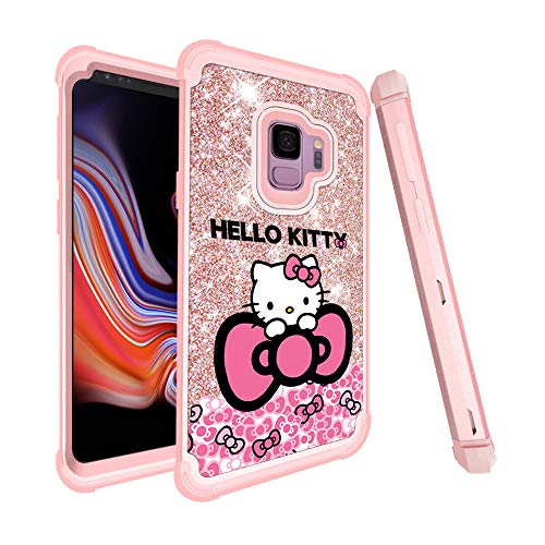 GSPSTORE for Samsung Galaxy S9 Plus Case Hello Kitty Cartoon Glitter Sparkle Bling Full-Body Heavy Duty Armor Defender Shockproof for Samsung Galaxy S9 Plus - Hello Bling Case Kitty