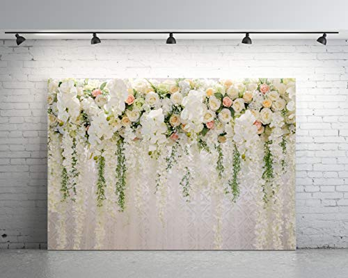 7x5ft White 3D Flowers Wall for Wedding or