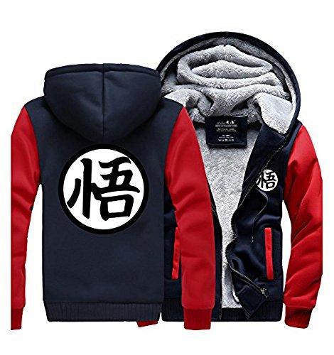 Dragon Ball Z Wigs (UU-Style Dragon Ball Z Son Goku Thicken Jacket Fleece Sweatshirt Plus Velvet Zip Outwear Sweater)