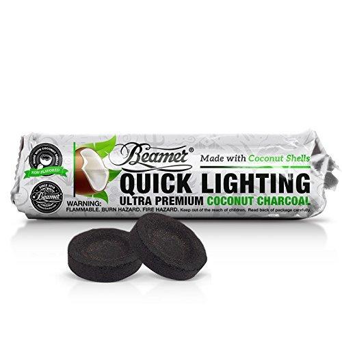 30 Pieces Beamer Premium COCONUT SHELL Quick / Instant Light Charcoal 33mm (3 x 10 Tablet Rolls) + Beamer Sticker. For incense, Smoking Herbal Hookah Shisha Nargila Argila Hooka Sheesha. Since 2010
