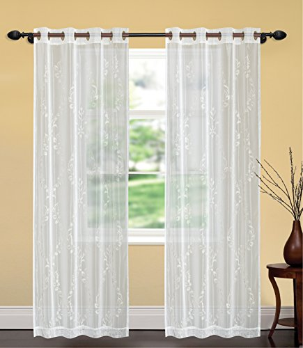 United Linens- Embroidery window curtains Brenda (52x84) (white) (Best Place To Buy Curtains Inexpensive)