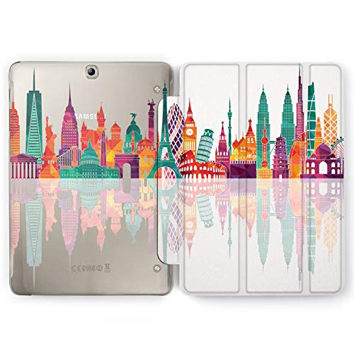 Wonder Wild World Tour Samsung Galaxy Tab S4 S2 S3 A E Smart Stand Case 2015 2016 2017 2018 Tablet Cover 8 9.6 9.7 10 10.1 10.5 Inch Clear Design Capital Countries New York London Tokyo Singapore -