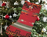 Southwestern Christmas Stocking - Woven Fabric, Metal Concho w/Leather Tie - Native Designs for Southwest Style, Western Decor, Cabin or Lodge (Santa Clara Red)