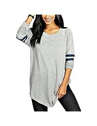 Gloria JR Womens Crewneck Long Sleeve Baseball Long T-Shirt Tunic Tops