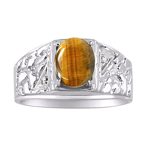 Genuine Oval Tiger Eye & Natural Diamonds Set in Nugget Designer Style Sterling Silver 925 Ring