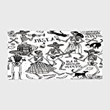 iPrint Cotton Microfiber Hotel SPA Beach Pool Bath Hand Towel,Mexican Decorations,Dead Dancers Themed Woman and Man Skeleton Icon Playing Music Design,Black White,for Kids, Teens, and Adults