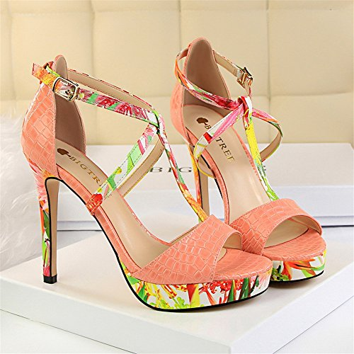 z&dw Super alto talón impermeable mesa de color floral t-Band Sexy sandalias Rosa