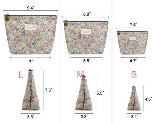 Micom Cute Floral Waterproof Travel Toiletry Cosmetic Bags Set for Women,girls (Beige)