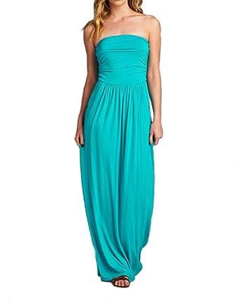 Niobe Women S Strapless Empire Waist Maxi Dress With Pockets Xxx
