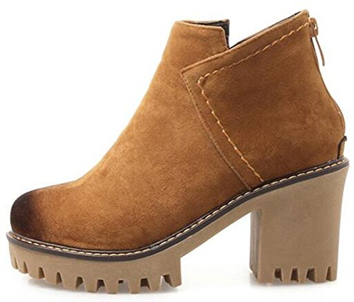 With Zipper IDIFU Short Brown Heels Women's Suede Retro Faux Platform Boots High Ankle Sole Booties Chunky Lug q6ZrAq