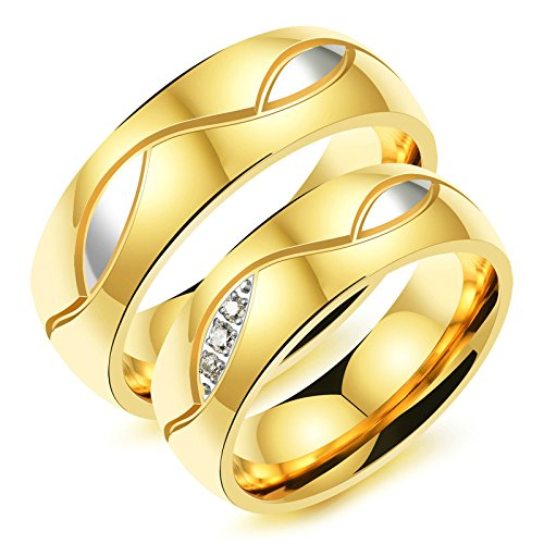 Aooaz 2 Pcs Rings Pair Friendship Rings Stainless Steel Gold Rings Free Engraving Womens 6 & Men 11 Novelty Jewelry Gift