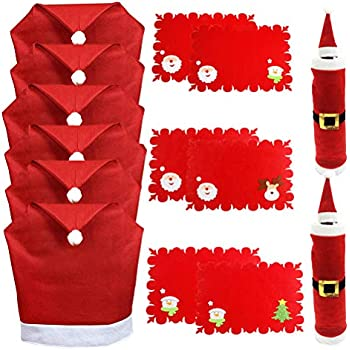 5ed34e0464571 Amazon.com  LOHOME® Santa Hat Chair Covers