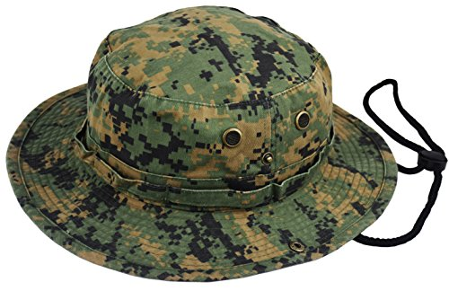 Summer Bucket Cap, Sun Hat with Adjustable Chinstrap, Outdoor Hunting Fishing Safari Boonie Hat (Digital-Camo, Large/X-Large) ()