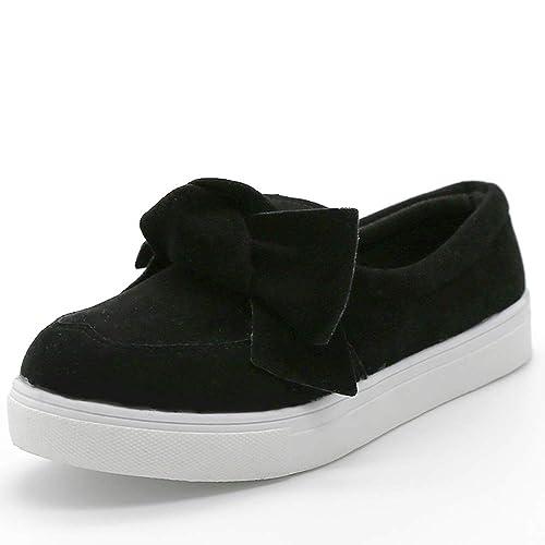 e34b70adba06a MORNISN Women's Casual Loafers Fashion Flatform Bow Sneakers Faux Suede  Slip on Flats Shoes