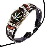 D.B.MOOD Adjustable Genuine Leather Bracelet - Marijuana Weed Leaf Black