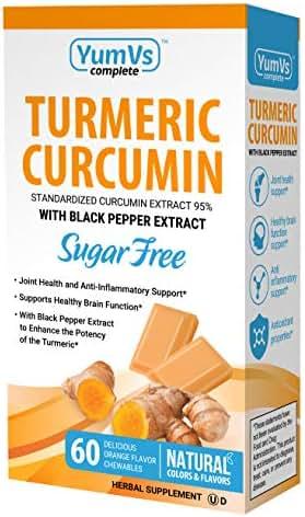 YumVs Complete Turmeric Curcumin Supplements, Sugar-Free Orange Flavored Chewable Chocolates for Men and Women (60 Ct); Vegan, Kosher, Halal, Gluten-Free