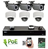 Cheap GW 8 Channel 4K NVR 5MP Video Security Camera System – 3 x Bullet & 3 x Dome 5MP 1920P Weatherproof 2.8-12mm Varifocal Cameras, Realtime Recording 1080p @ 30fps, Pre-Installed 2TB HDD