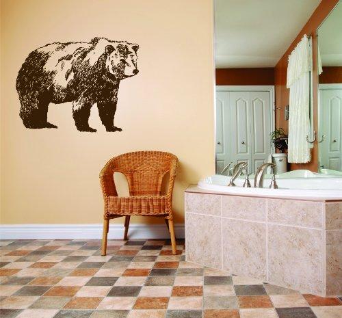 Black Bear Wallpaper (Hunting Bear - Black & White - Picture Art - Peel & Stick Vinyl Wall Decal Sticker 15x25 - Inches - As Seen - Deer 152)