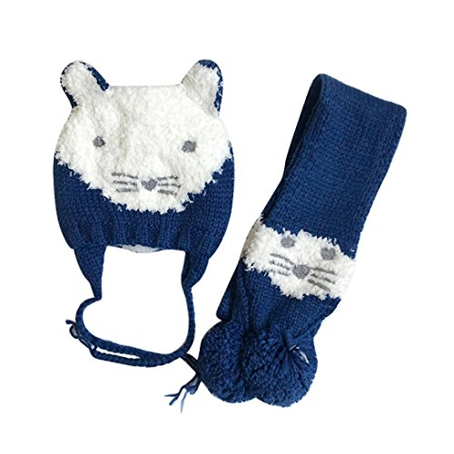 Suit for 2-10 Years old Kids,DIGOOD Girls Boys Cute Cartoon Cat Warm Woolen Hat+Scarf Plush Sets (Big Stripes Address Label)