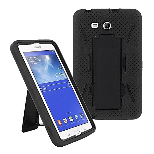 Galaxy Tab A 7.0 SM-T280 2016 Case by KIQ Heavy Duty Drop Protection Silicone Skin Hard Plastic Case Cover for Samsung Galaxy Tab A 7-inch [T280 & T285] (Hybrid Black)